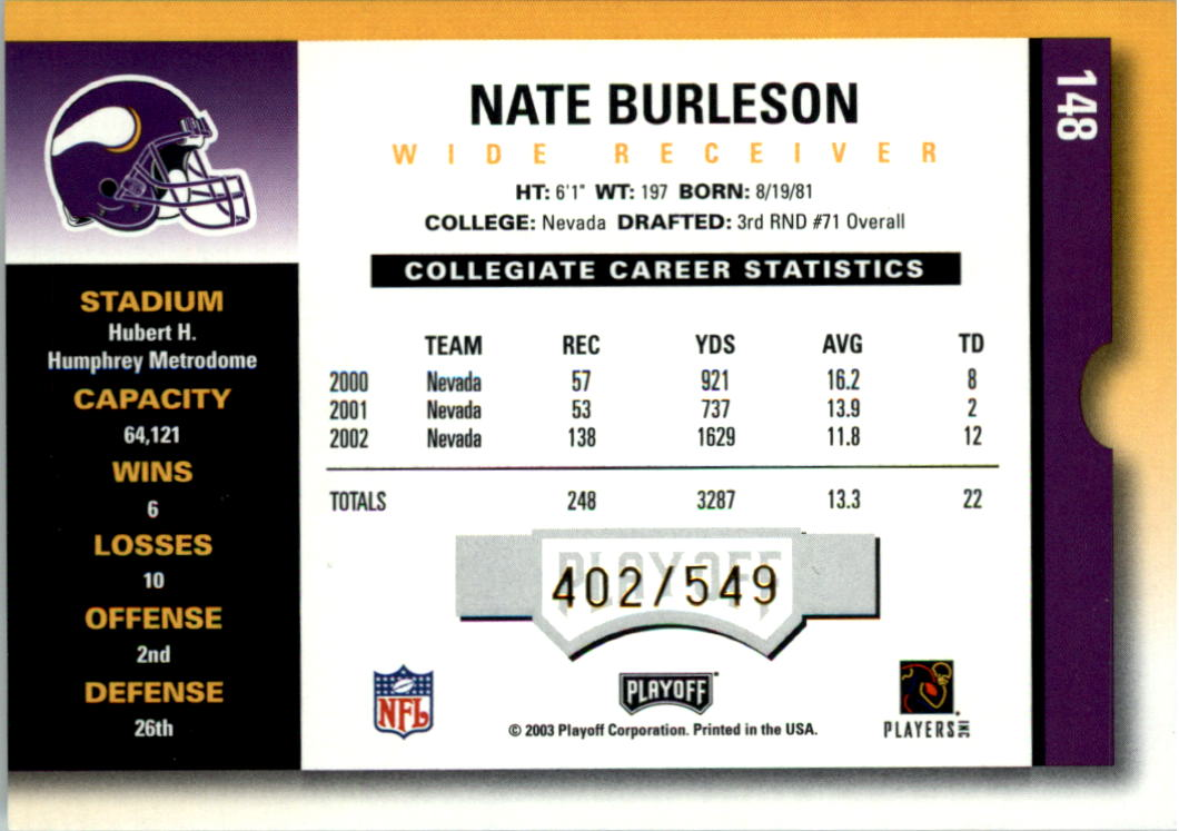2003 Playoff Contenders #148 Nate Burleson AU/549 RC back image