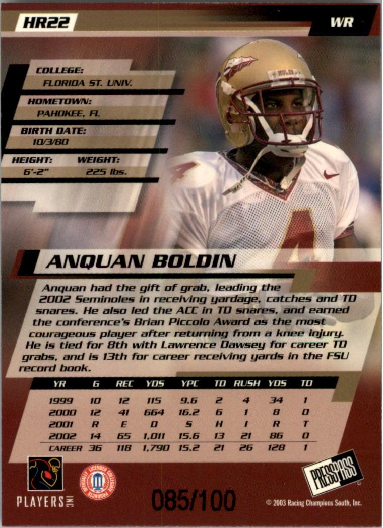 2003 Press Pass Reflectors Proofs #22 Anquan Boldin back image