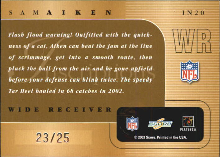 2003 Score Inscriptions Personalized #20 Sam Aiken back image