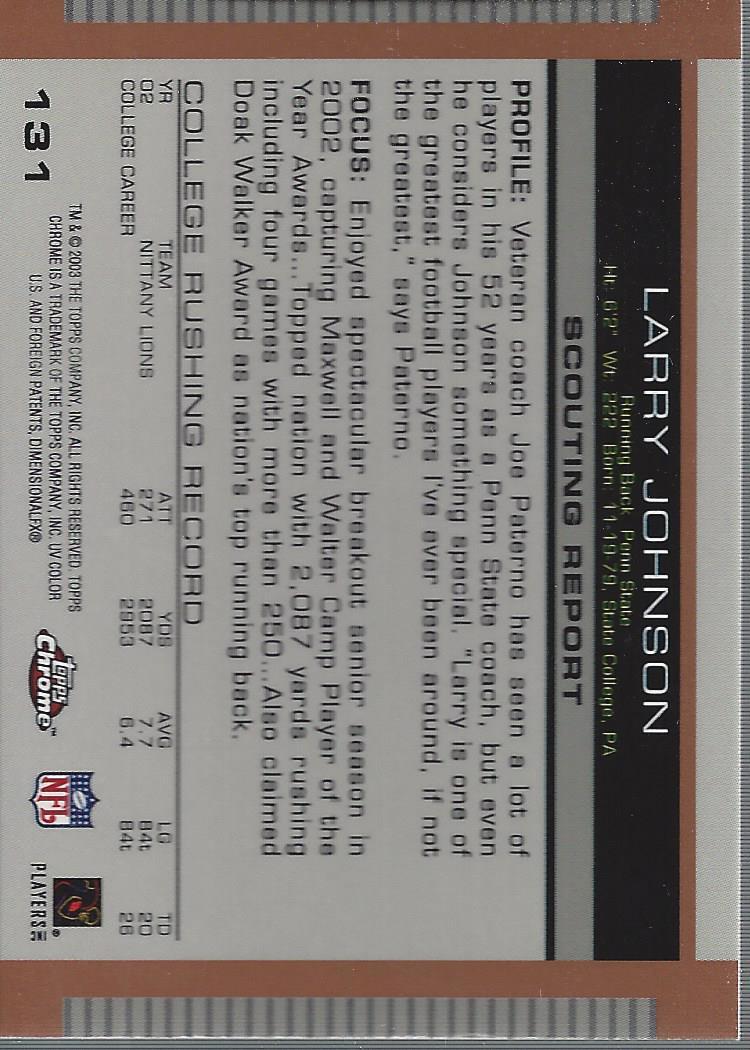2003 Topps Draft Picks and Prospects Chrome #131 Larry Johnson back image