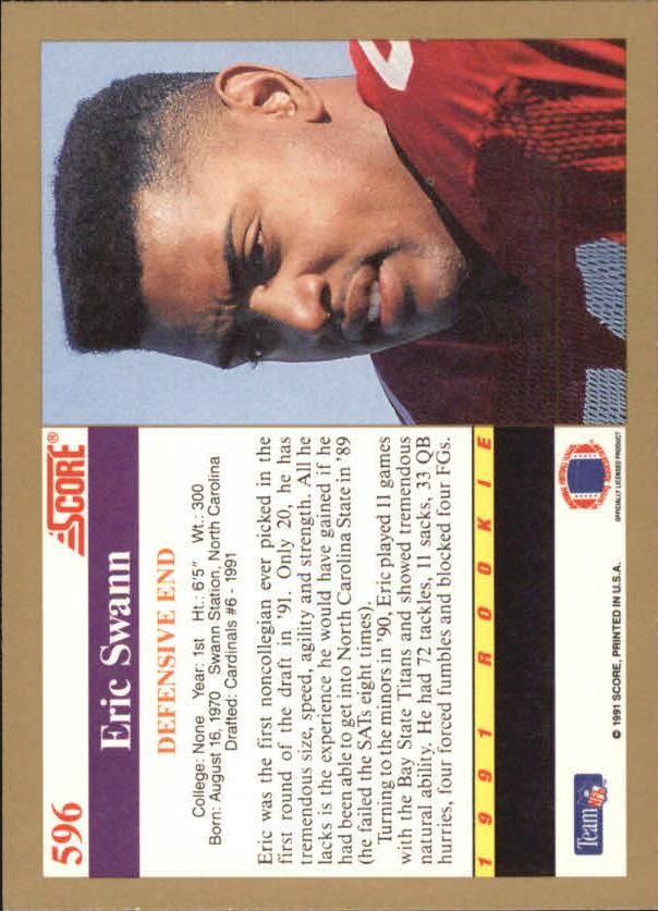 Eric Swann Signed 1991 Score #596  RC AUTO back image