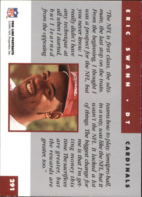 Eric Swann Signed 1991 Pro Line Portraits #291 RC AUTO back image