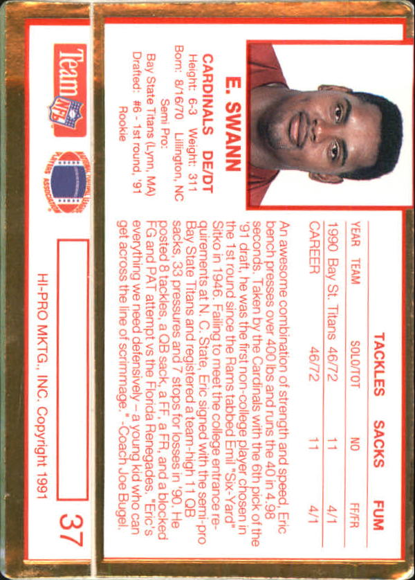 Eric Swann Signed 1991 Action Packed Rookie Update #37 RC AUTO back image