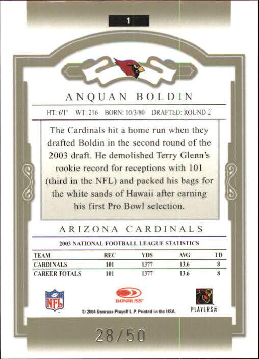 2004 Donruss Classics Timeless Tributes Green #1 Anquan Boldin back image