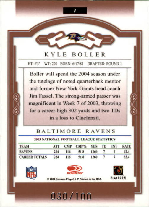 2004 Donruss Classics Timeless Tributes Red #7 Kyle Boller back image