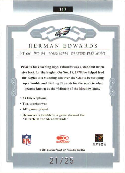 2004 Donruss Classics Significant Signatures Platinum #117 Herman Edwards back image