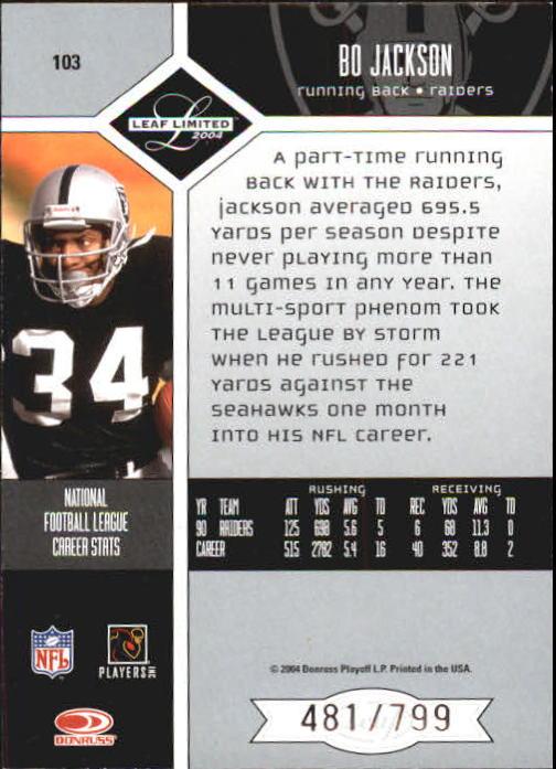 2004 Leaf Limited Football Card 103 Bo Jackson 799 Ebay