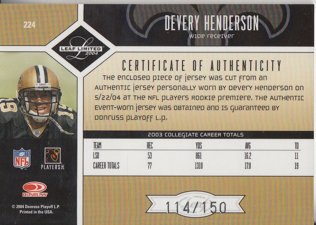 2004 Leaf Limited #224 Devery Henderson JSY AU RC back image