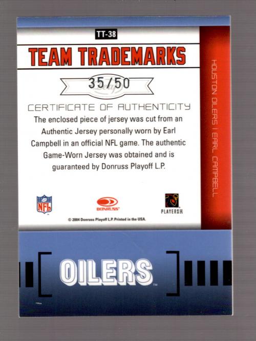 2004 Leaf Limited Team Trademarks Autographs #TT38 Earl Campbell back image
