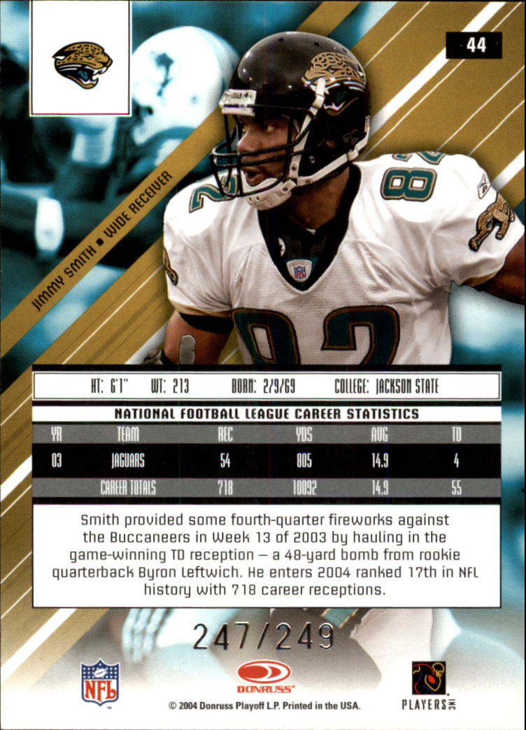 2004 Leaf Rookies and Stars Longevity True Blue Parallel #44 Jimmy Smith back image