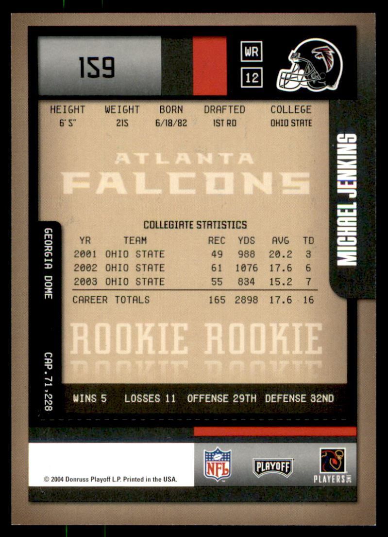 2004 Playoff Contenders #159 Michael Jenkins AU/412* RC back image