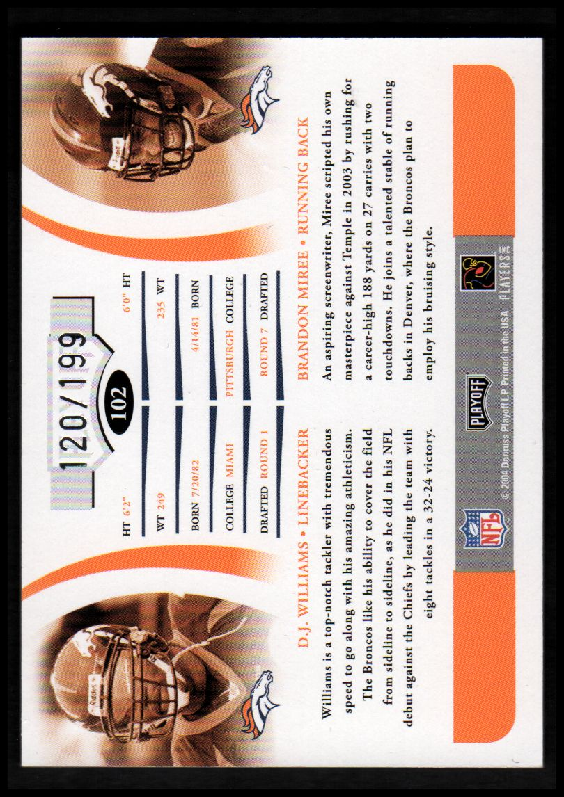 2004 Playoff Prime Signatures #102 D.J. Williams AU RC/Brandon Miree AU RC back image