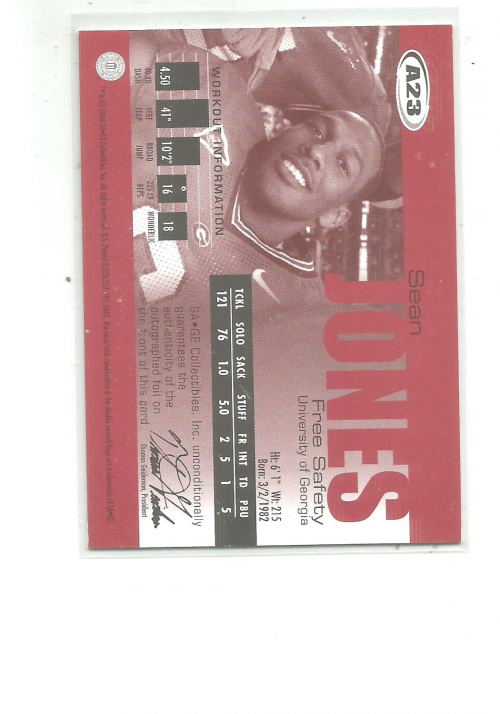 2004 SAGE Autographs Red #A23 Sean Jones/999 back image