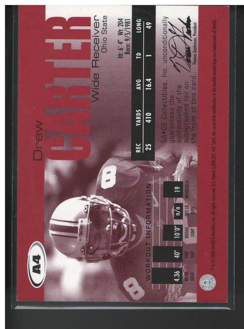 2004 SAGE Autographs Silver #A4 Drew Carter/300 back image