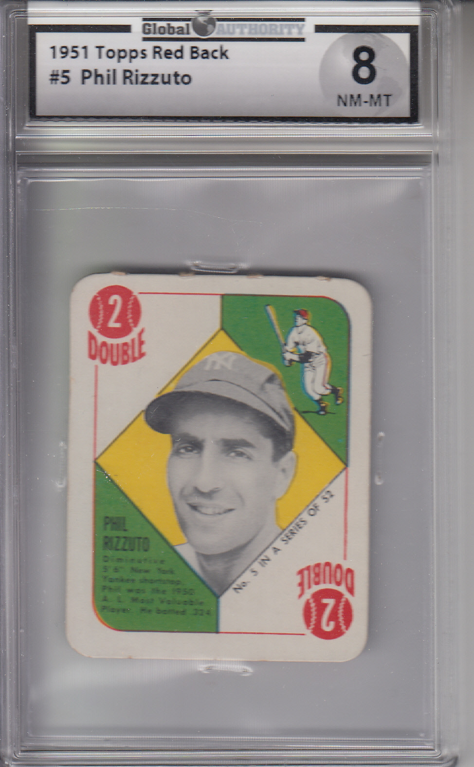 1951 Topps Red Back #5 Phil Rizzuto YANKEES GAI 8 NM-MT Z19228