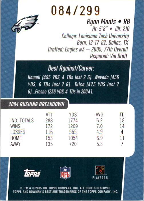 2005 Bowman's Best Blue #115 Ryan Moats JSY back image