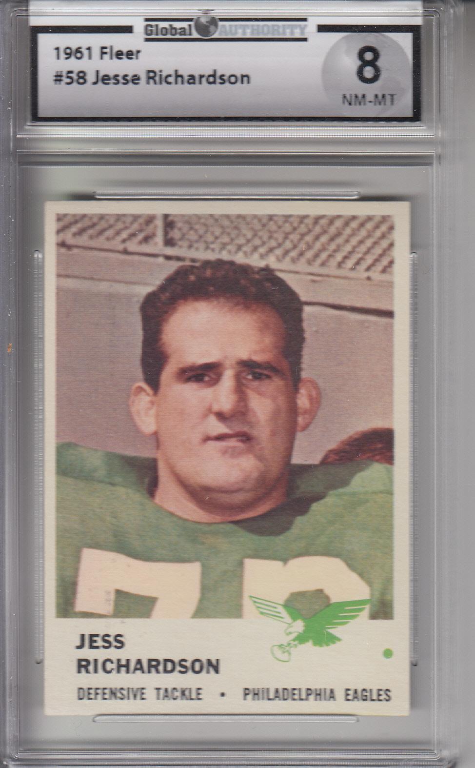 1961 Fleer #58 Jesse Richardson EAGLES GAI 8 NM-MT Z20235