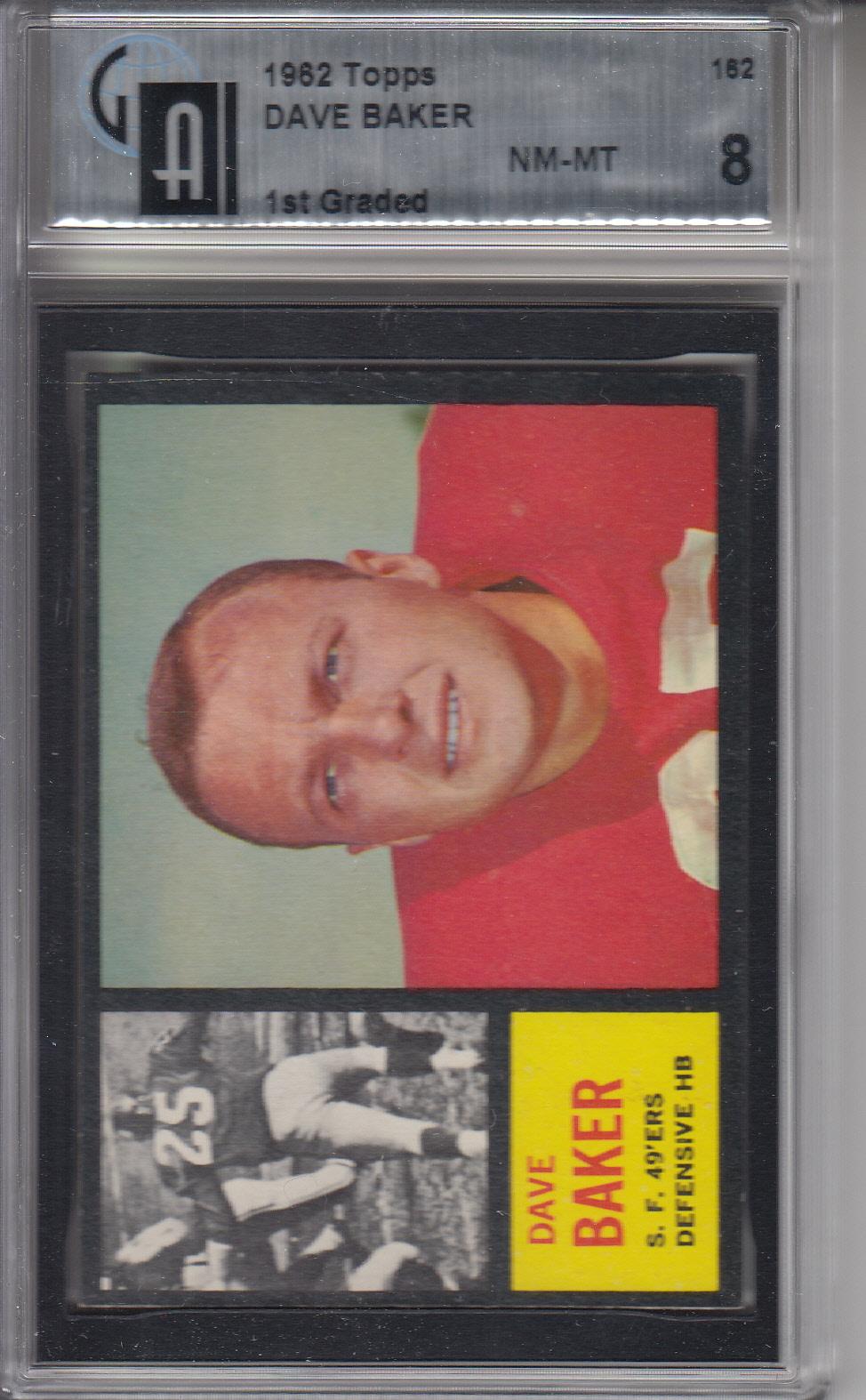 1962 Topps #162 Dave Baker 49ERS GAI 8 NM-MT Z20552