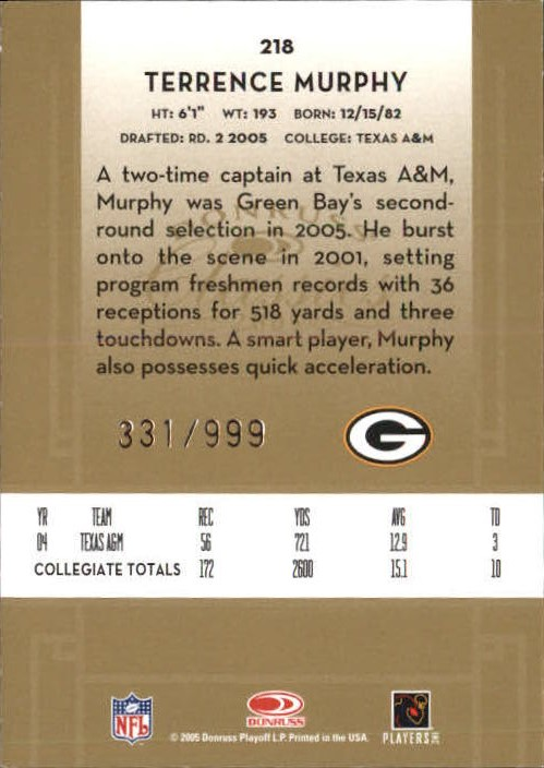 2005 Donruss Classics #218 Terrence Murphy RC back image