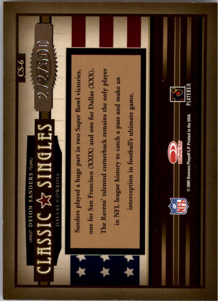 2005 Donruss Classics Classic Singles Silver #6 Deion Sanders back image