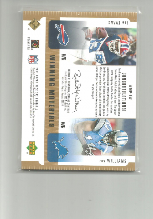 2005 SPx Winning Materials Patches #EW Lee Evans/Roy Williams back image