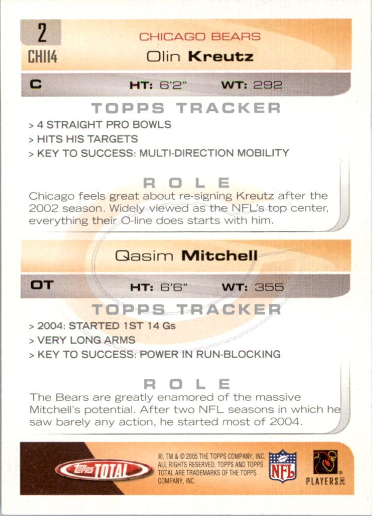 2005 Topps Total Silver #2 Olin Kreutz/Qasim Mitchell back image