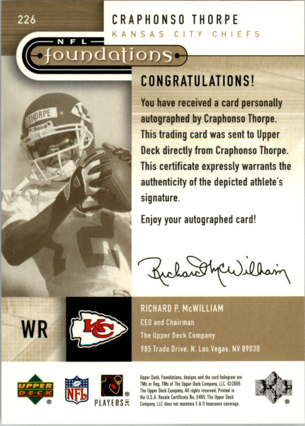2005 Upper Deck Foundations Exclusive Gold #226 Craphonso Thorpe AU back image