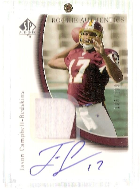 2005 SP Authentic #245 Jason Campbell JSY/299 AU RC