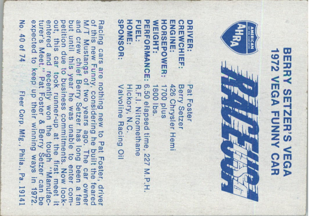 1973 Fleer AHRA Race USA #40 Pat Foster's Car back image