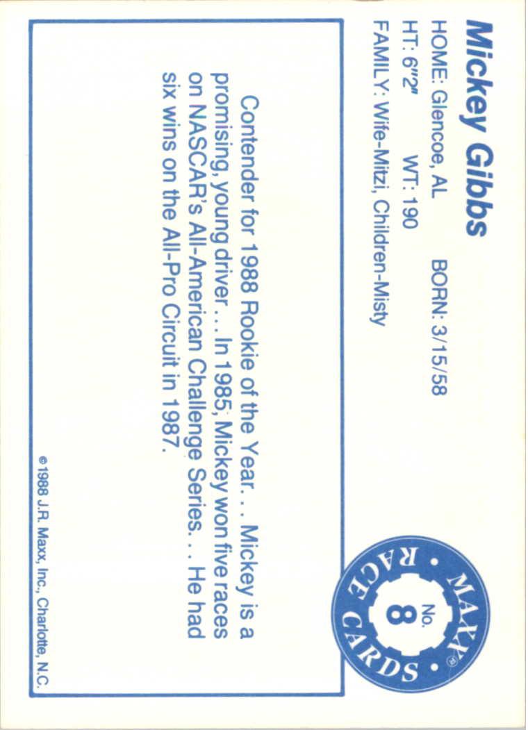 1988 Maxx Charlotte #8 Mickey Gibbs RC back image