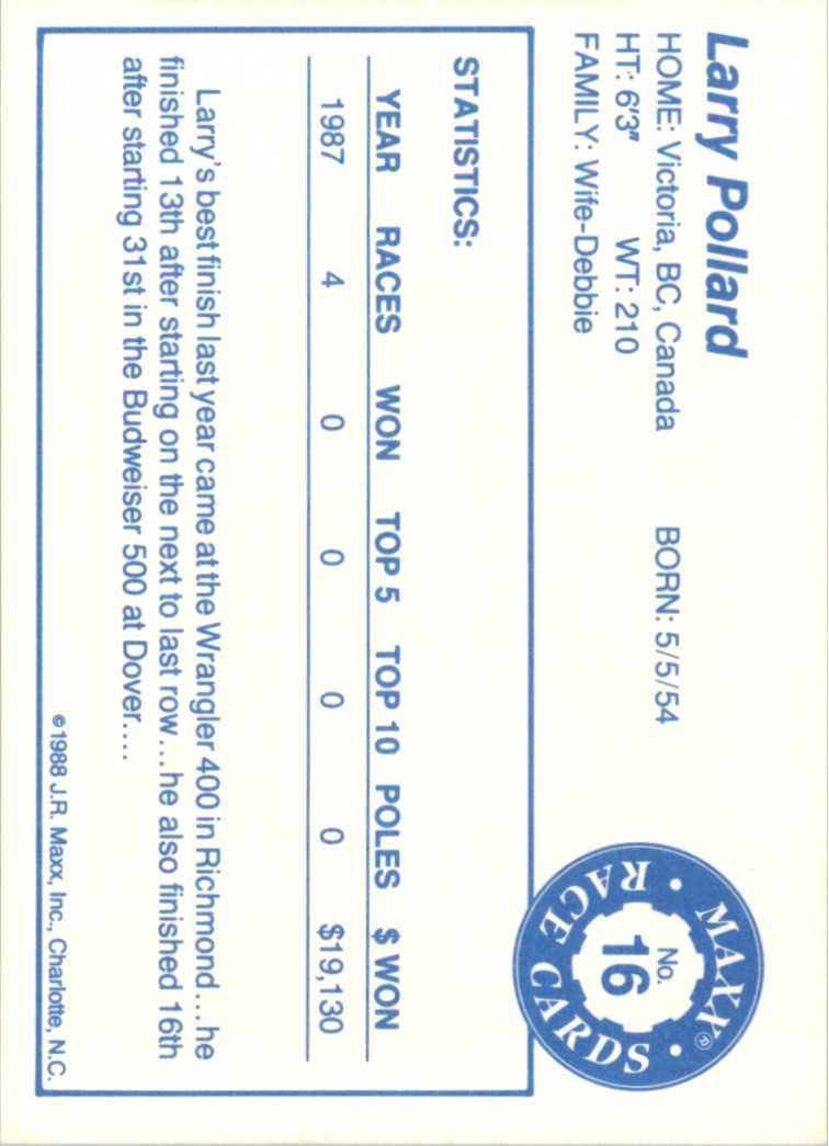1988 Maxx Charlotte #16 Larry Pollard RC back image
