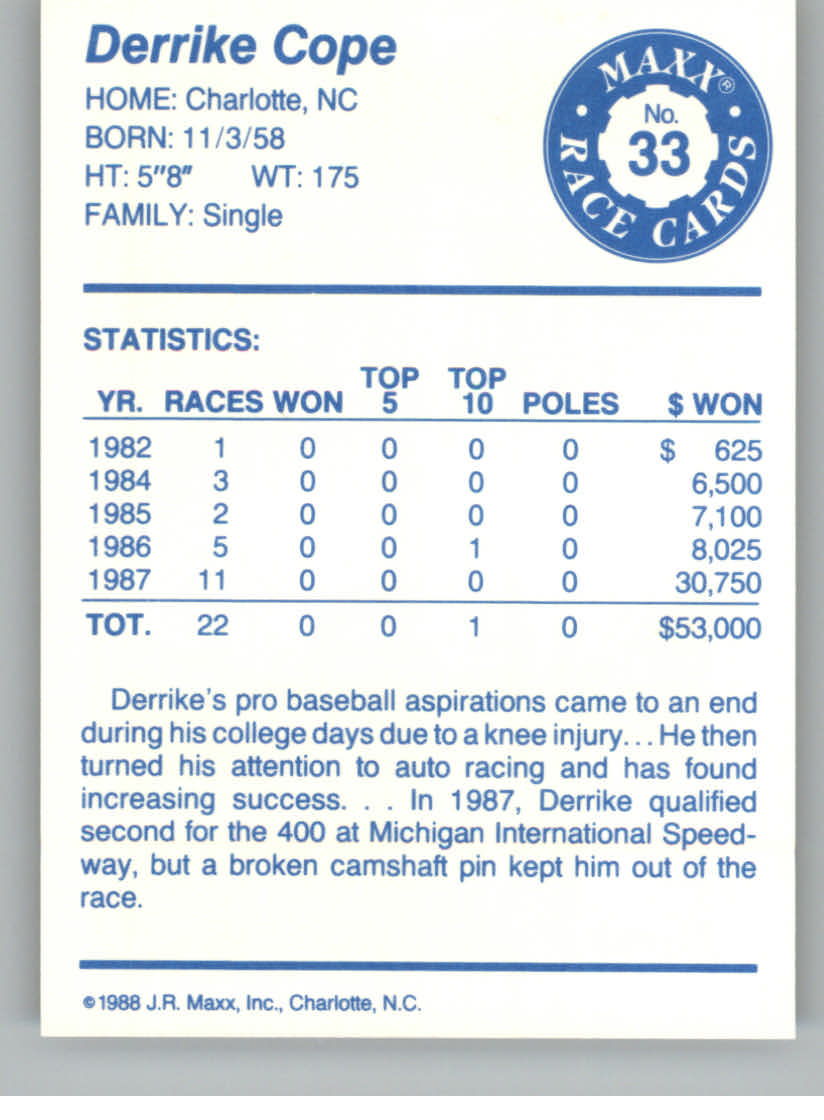 1988 Maxx Charlotte #33 Derrike Cope RC back image