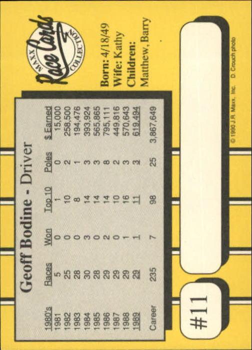 1990 Maxx Glossy #11 Geoff Bodine back image