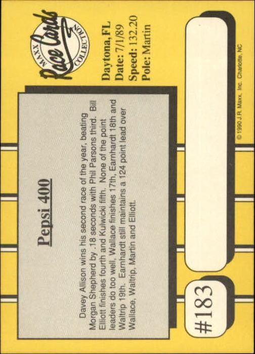 1990 Maxx Glossy #183 Earnhardt/R.Wilson/Shepherd/Schrader Cars back image