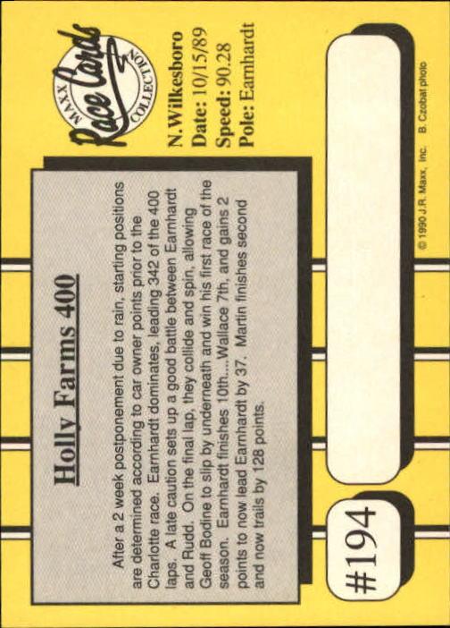 1990 Maxx Glossy #194 Michael Waltrip/Phil Parsons Cars YR back image