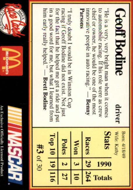 1991 Maxx McDonald's #3B Geoff Bodine COR back image