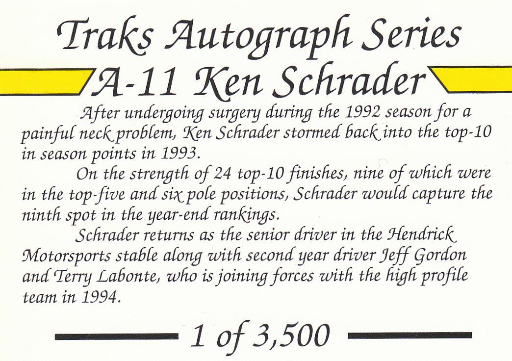 1994 Traks Autographs #A11 Ken Schrader back image