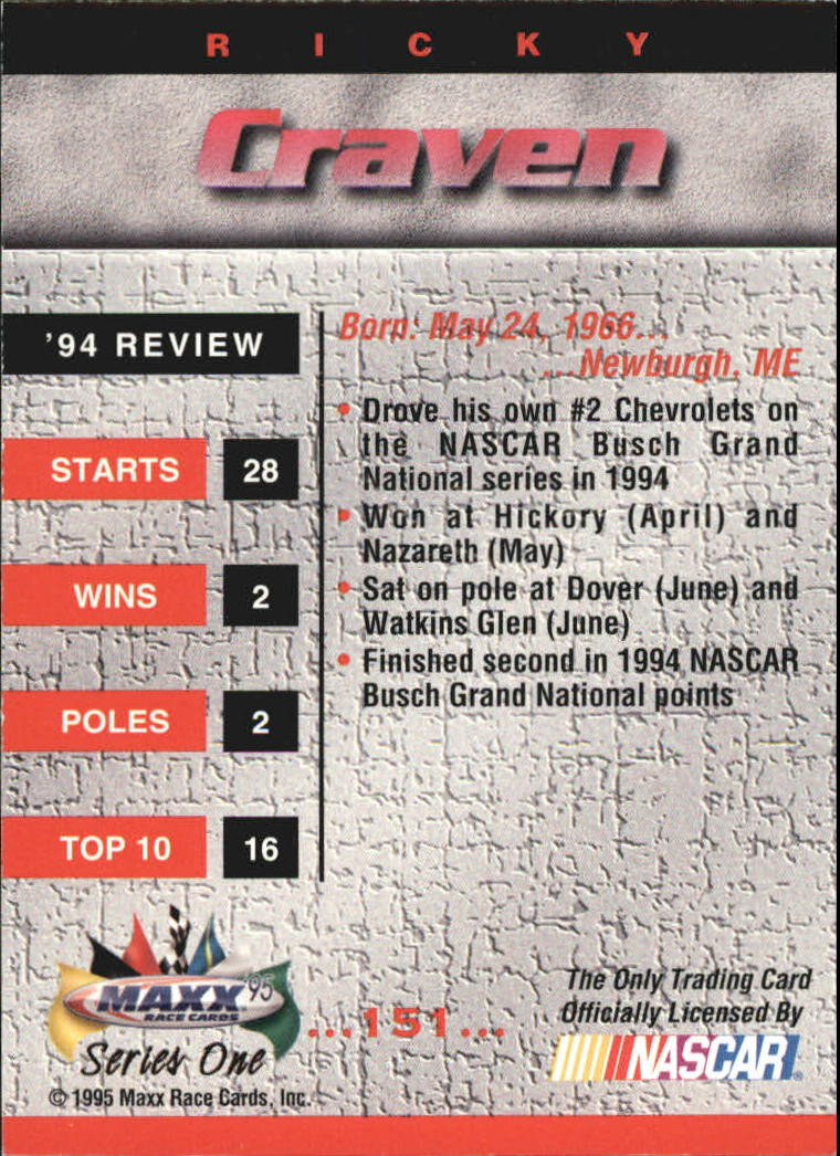 1995 Maxx Autographs #151 Ricky Craven back image
