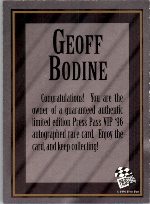 1996 VIP Autographs #3 Geoff Bodine back image