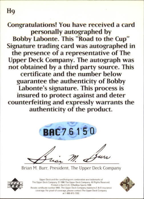1996 Upper Deck Road To The Cup Autographs #H9 Bobby Labonte back image