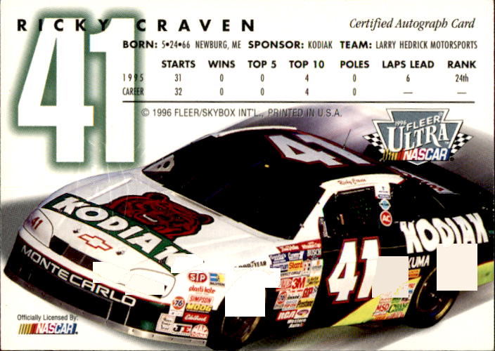 1996 Ultra Autographs #8 Ricky Craven back image