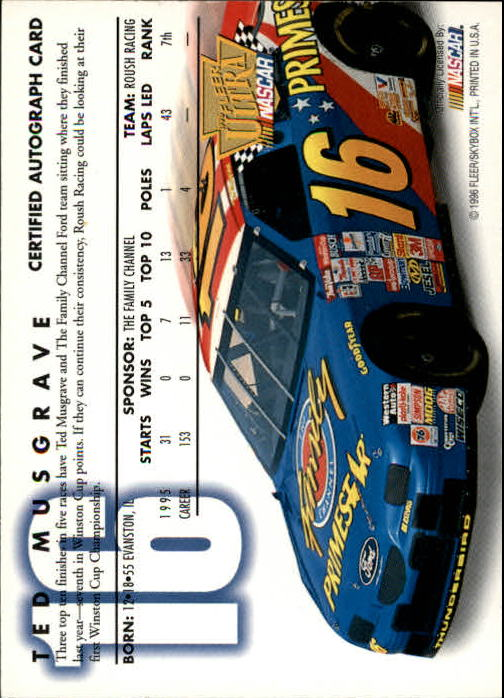 1996 Ultra Autographs #25 Ted Musgrave back image