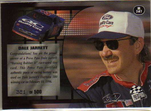 1996 Press Pass Premium Burning Rubber II #BR3 Dale Jarrett's Car back image