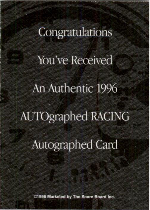 1996 Autographed Racing Autographs #20 Steve Hmiel back image
