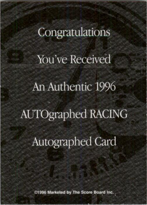 1996 Autographed Racing Autographs #43 Charley Pressley back image