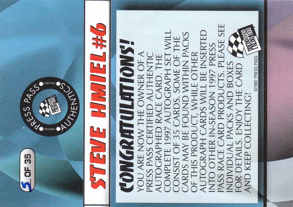1997 Press Pass Autographs #5 Steve Hmiel PPP/VIP back image