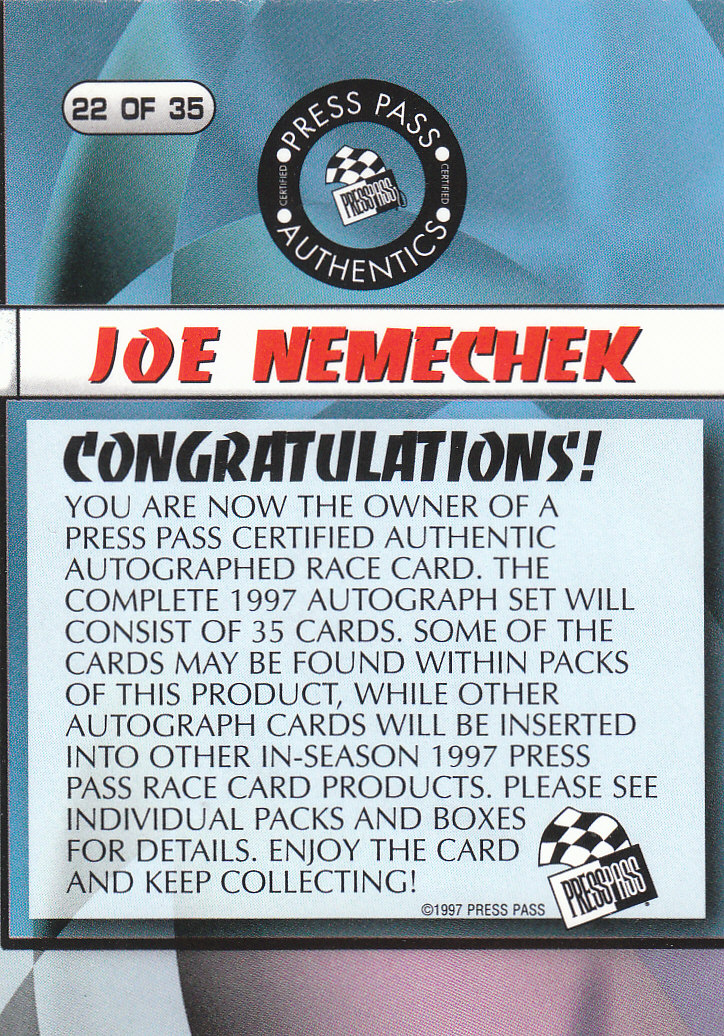 1997 Press Pass Autographs #22 Joe Nemechek PPP back image