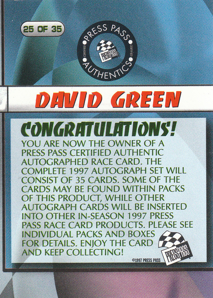 1997 Press Pass Autographs #25 David Green VIP back image