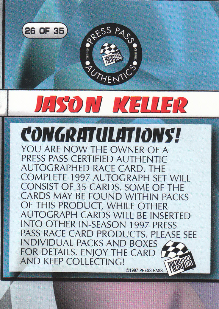 1997 Press Pass Autographs #26 Jason Keller PPP/VIP back image