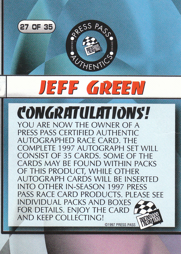 1997 Press Pass Autographs #27 Jeff Green PPP/VIP back image